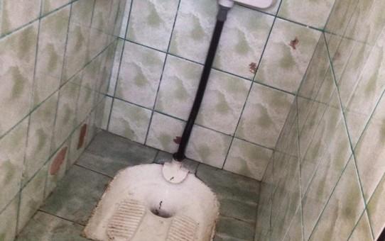 Târgu Jiul anului  2016. Școală cu WC turcesc în fundul curții și sobe în clase
